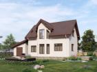 Проект одноэтажного дома с мансардой, террасой и гаражом